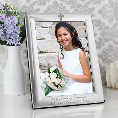 Silver Plated 5x7 Elegant Cross Photo Frame